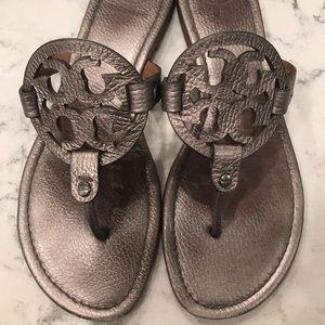 Silver Tory Burch Miller sandals